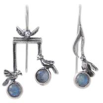 NOVICA Rainbow Moonstone .925 Sterling Silver Drop Earrings, Bird Harmony'