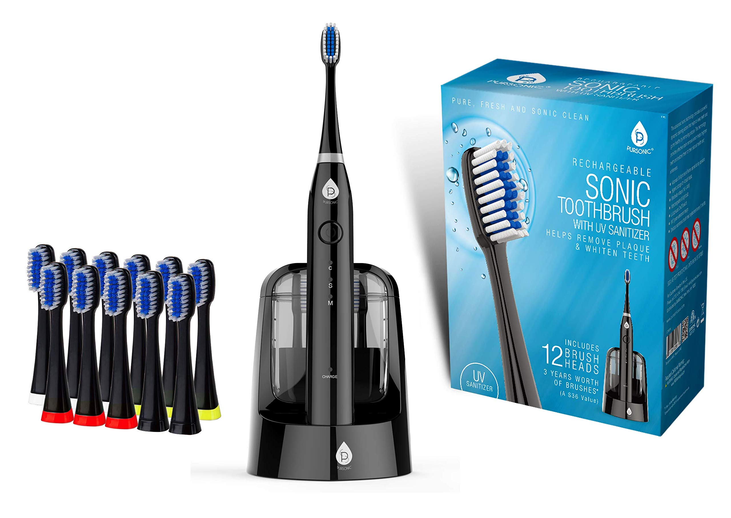 Pursonic S750 Sonic SmartSeries Electronic Power Rechargeable Battery Toothbrush with UV Sanitizing Function, Black, Includes 12 Brush Heads