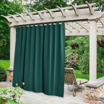 NICETOWN Exterior Waterproof Curtain for Patio, Detachable Tab Top Blackout Thermal Insulated Outdoor Divider Room Darkening for Porch/Yard/Sliding Glass Door, W84 x L95, 1 Panel, Hunter Green