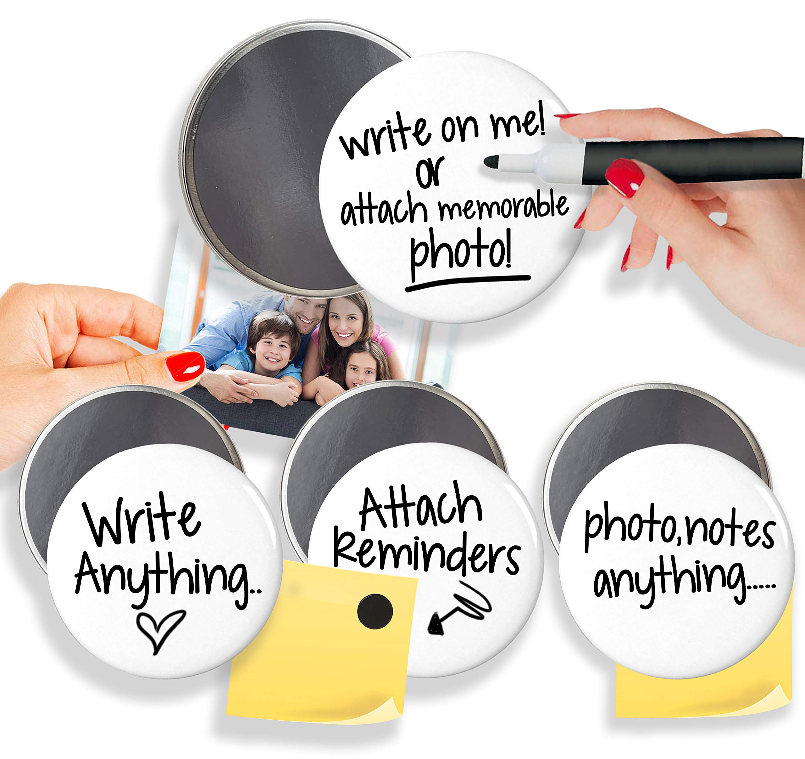 Round Dry-Erase Board Fridge Magnets, Magnetic Sticky Notes Attachment Whiteboard Pin Reminder (3, 2.9)