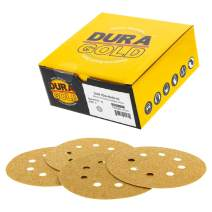 "Dura-Gold - Premium - 40 Grit - 5"" Gold Sanding Discs - 8-Hole Dustless Hook and Loop for Random Orbit DA Sander - Box of 25 Finishing Sandpaper Discs for Woodworking or Automotive"