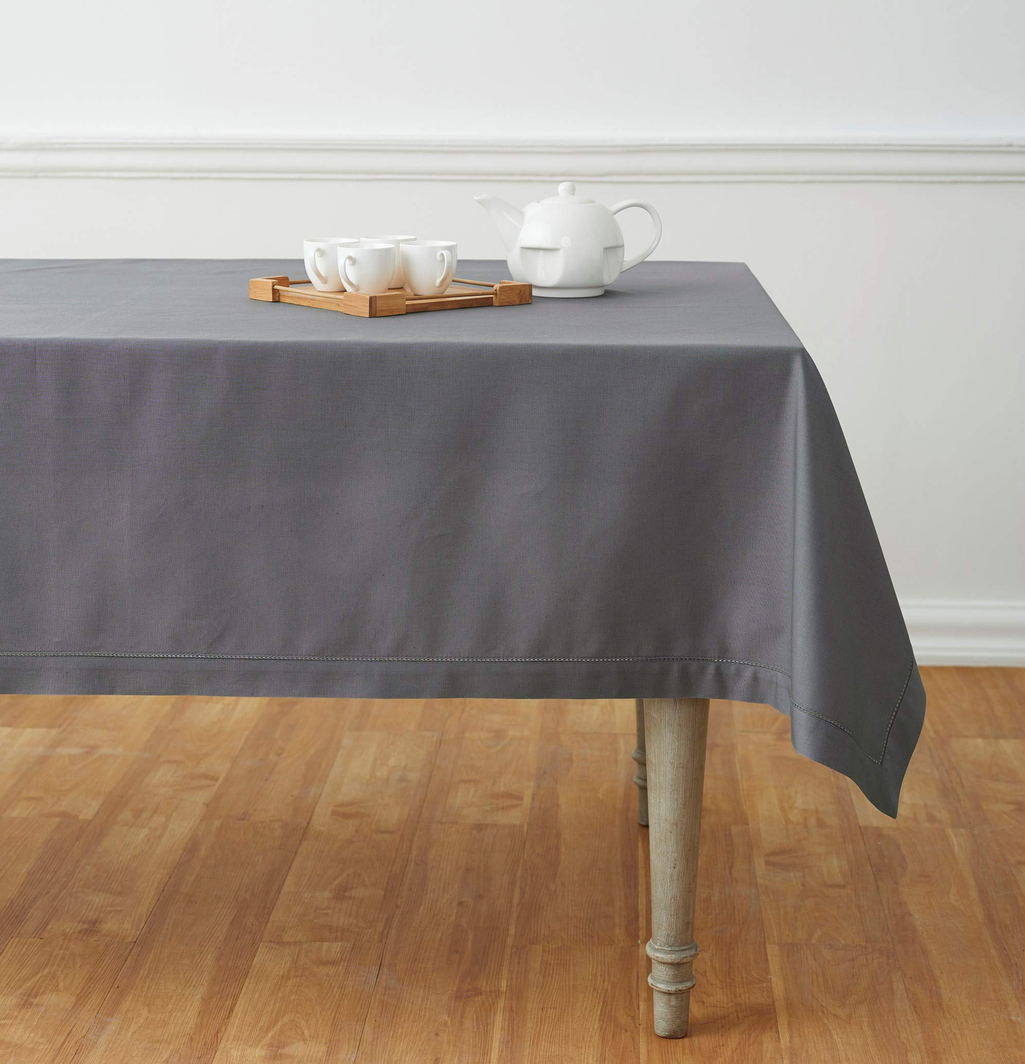 Solino Home Hemstitch Cotton Linen Tablecloth – 58 x 120 Inch, Natural Fabric Machine Washable - Grey Tablecloth for Indoor and Outdoor use