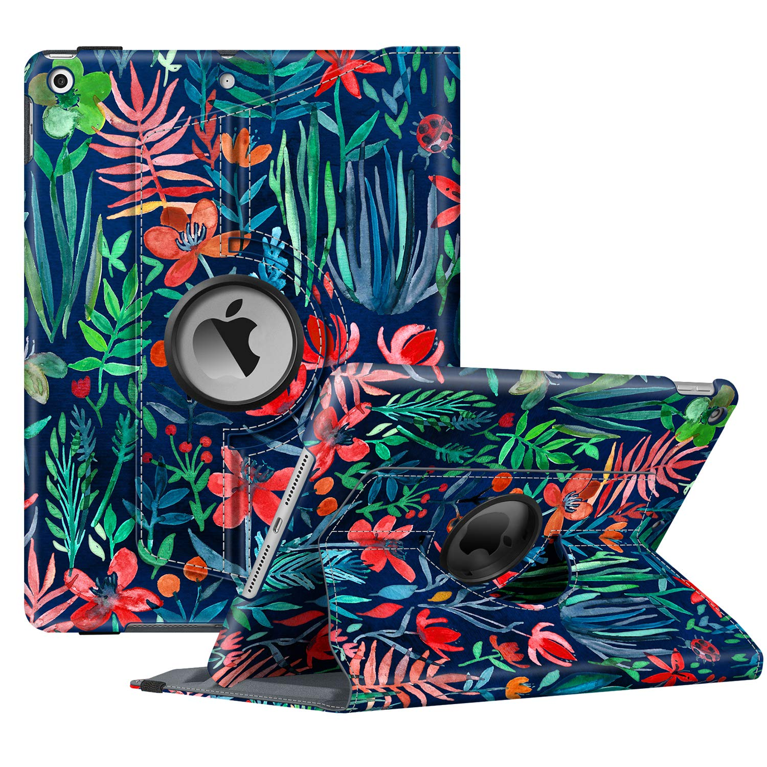 """Fintie Rotating Case for New iPad 7th Generation 10.2 Inch 2019 - [Built-in Pencil Holder] 360 Degree Rotating Smart Protective Stand Cover with Auto Sleep/Wake for iPad 10.2"""" Tablet, Jungle Night"""
