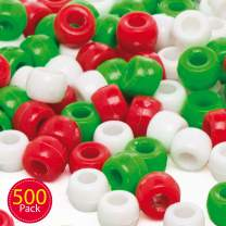 Baker Ross Christmas Beads (Pack of 500) Value Pack for Kids Christmas Crafts and Decorations