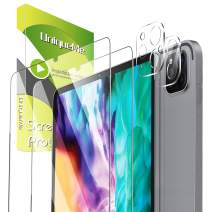 [4 Pack] UniqueMe 2 Pack Camera Lens Protector for iPad Pro(2020) Tempered Glass + 2 Pack Screen Protector for iPhone Pro(12.9 inch) [Easy Frame Installation][Touch Sensitive] [Case Friendly]