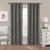 """Eclipse Nadya Solid Thermal Insulated Single Panel Grommet Top Darkening Curtains for Living Room, 52"""" x 63"""", Smoke"""