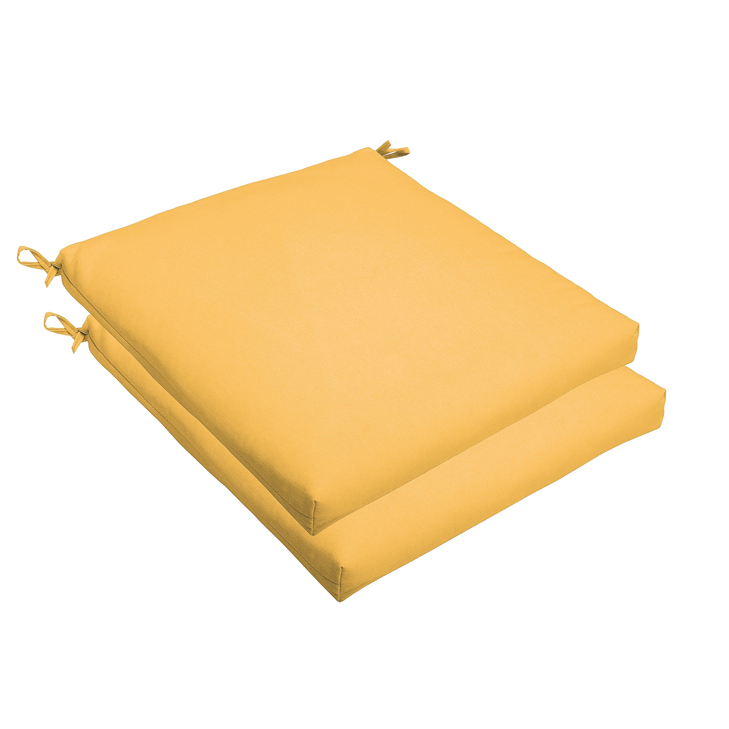 Mozaic AMCS105490 Indoor or Outdoor Sunbrella Square Chair Seat Cushions Set, Set of 2, 19 x 19 x 2.5, Sunflower Yellow