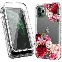 ACKETBOX iPhone 11 Pro Max Case,Three Layer Shockproof Protective Cover Floral Design PC Back Case+Clear Bumper with Built-in Protective Film Transparent TPU Cover for iPhone 11 Pro Max (Flowers)