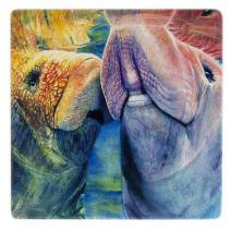 Adorable Manatee Couple Wooden Coaster - Watercolor Art by Colleen Nash Becht
