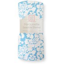 SwaddleDesigns Marquisette Swaddling Blanket, Premium Cotton Muslin, Blue Lush