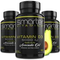 (3 Bottles) Vitamin D3 5000 IU in USDA Certified Organic Avocado Oil, 270 Mini Softgels, Non-GMO, Soy Free, 125mcg, Gluten Free, Supports Healthy Bones and Immune Function, 9 Month Supply