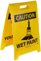 """NMC FS2 Double Sided Floor Sign, Legend """"CAUTION - WATCH YOUR STEP WET PAINT"""" with Graphic, 12"""" Length x 20"""" Height, Coroplast, Black on Yellow"""