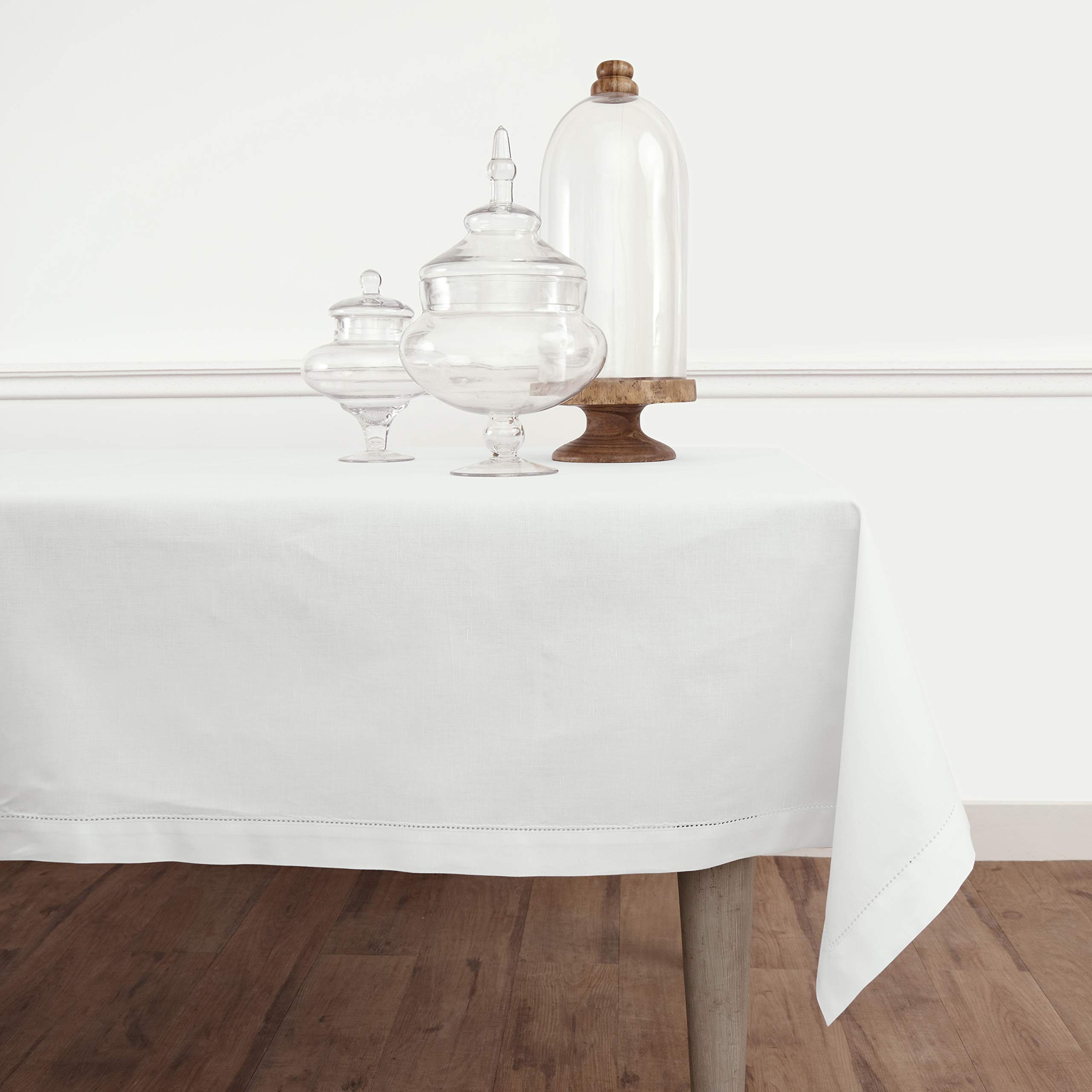 Solino Home Hemstitch Cotton Linen Tablecloth – 54 x 72 Inch, Natural Fabric Machine Washable - White Tablecloth for Indoor and Outdoor use