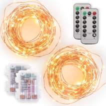 Tenergy [2 Pack] Battery Operated LED String Lights, 16.5ft Light String 50 dimmable LEDs, Remote Control, AA Batteries, Outdoor Ready for Christmas Decorations, Wedding Decor, UL Certified