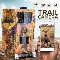 IPS IP SMART Trail Camera Game Camera 1080P Hunting Camera IP67 Waterproof HD Scouting Cam Night Vision 65ft Outdoor Motion Camera Wildlife Animal