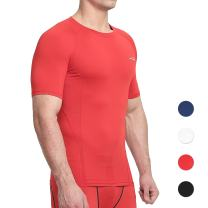 COOLOMG Men's Compression Shirt Top Baselayer Short Sleeve T-Shirts Sport Tight Shirts Cool Dry