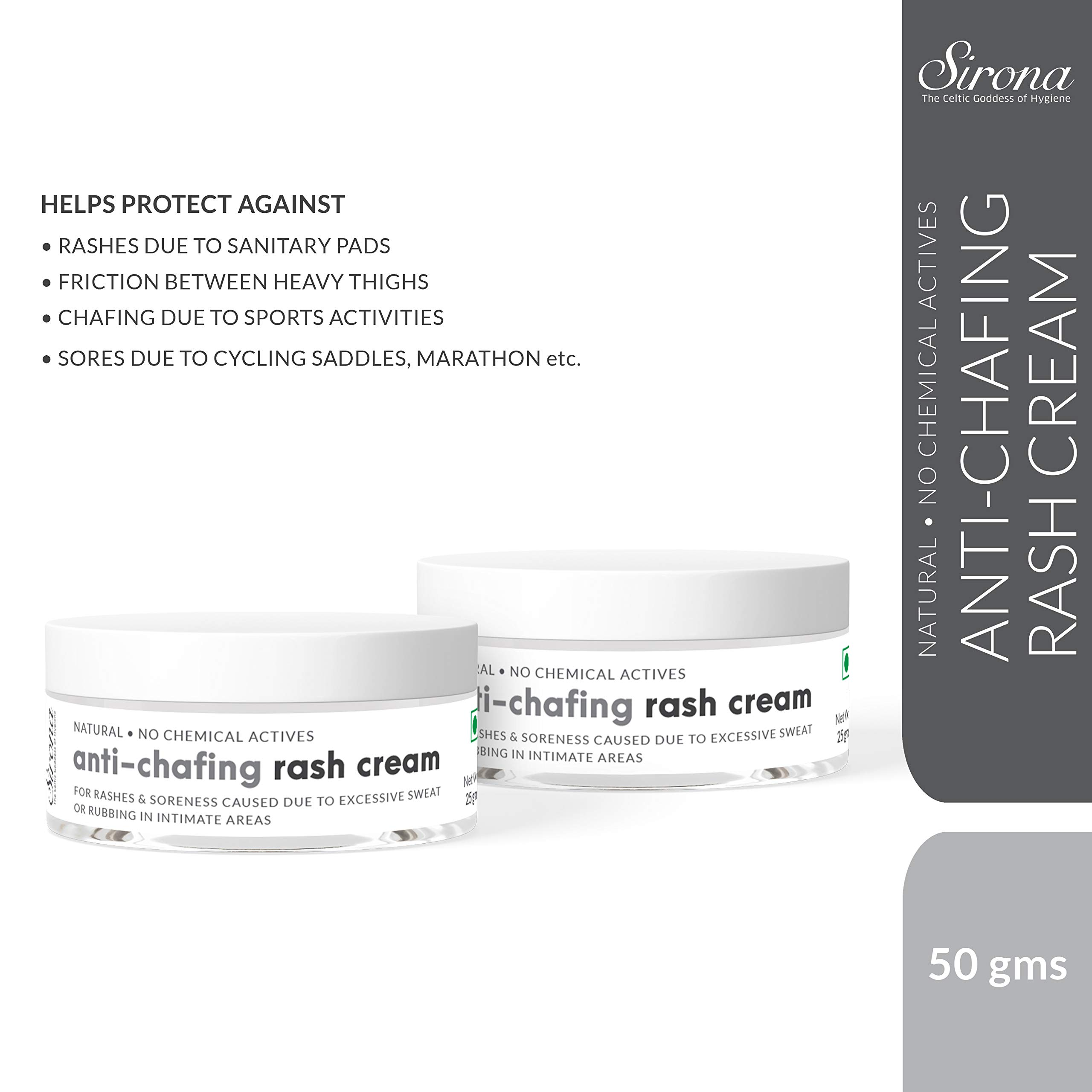 Sirona Natural Anti Chafing Rash Cream - 1.8 Ounce, Skin Healing Cream with 5 Magical Herbs| Helps in Soothing and Preventing Rashes Due to Sanitary Pads, Heavy Thighs, Sports Activities and Running