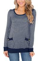 For G and PL Women's Long Sleeve Round Neck Striped Shirts with Button Pockets