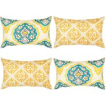 """Wondre4 Pack of 4 Decorative Linen Cushion Throw Pillow Covers Natural Linen Look Fabric,Modern Geometric Patterns,Decorative Cushion Covers for Sofa Bedroom Car (4PC, 12""""X20"""")"""