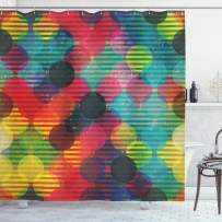 """Ambesonne Geometric Circle Shower Curtain, Psychedelic Digital Futuristic Spherical Funky Grunge Display, Cloth Fabric Bathroom Decor Set with Hooks, 84"""" Long Extra, Multicolor"""