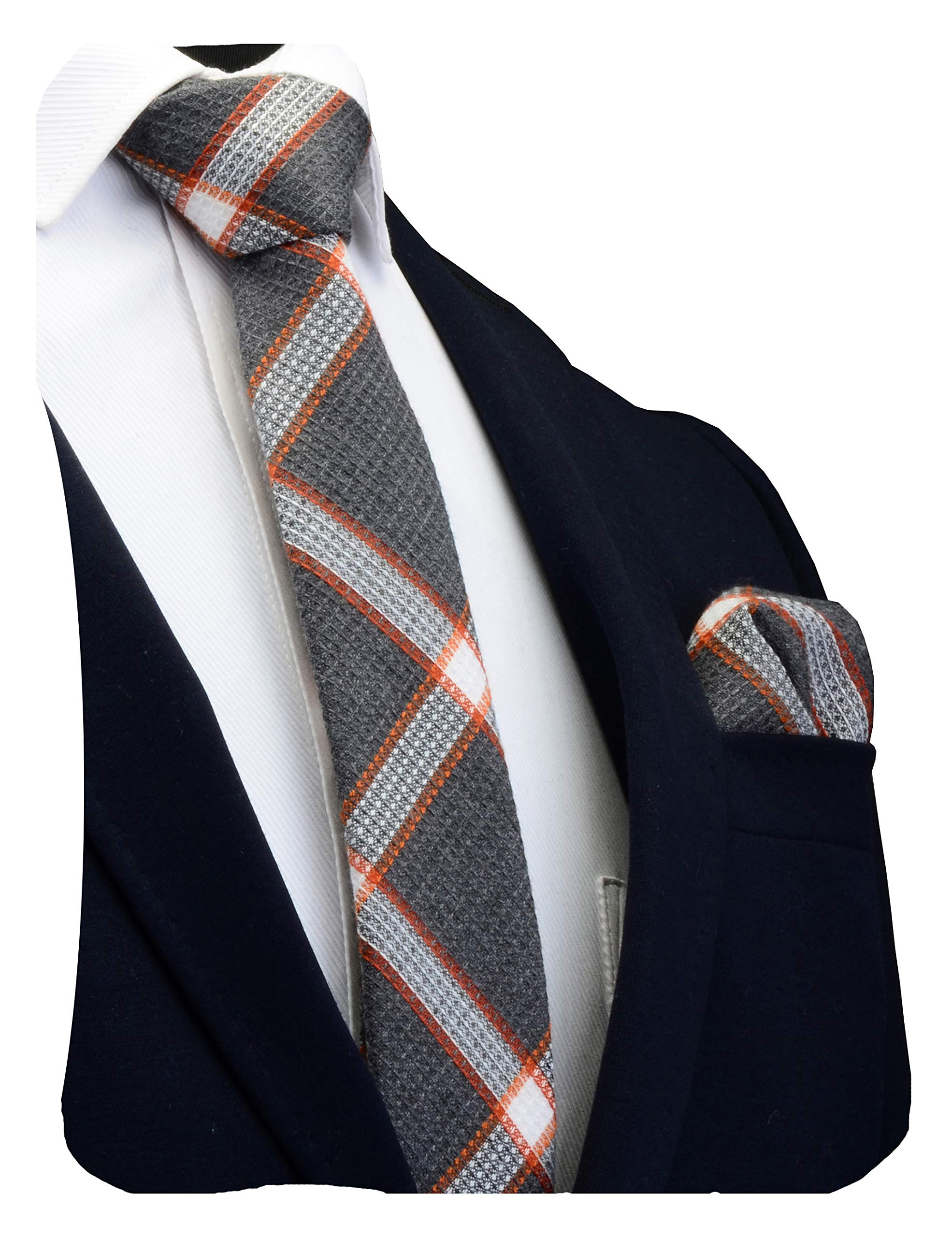 """GUSLESON Brand New 2.4""""(6cm)Cotton Plaid/Striped Necktie Skinny Tie and Pocket Square Sets + Gift Box"""