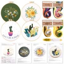 FEPITO 7 Pcs Embroidery Starter Kit with Pattern and Instructions Cross Stitch Kit Include Embroidery Cloth with Floral Pattern, Embroidery Hoops, Scissors, Color Threads Needle Kit, Floral Style 2