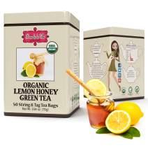 Brew La La Organic Green Tea -Lemon Honey Flavor - 50 Tea Bag Tin - Low Caffeine - USDA Certified Organic - Double Chambered Teabags