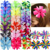 20 Pair 3in Pinwheel Rainbow Bows Grosgrain Ribbon Hair Clips For Baby Girls Teens Kids Toddler Gifts Accessories