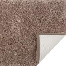 Luxury Shaggy Bath Rug with Extra Water Absorbent Soft Fluffy Bath Rugs Runner for Bathroom Machine Washable 17 x 24 Brown