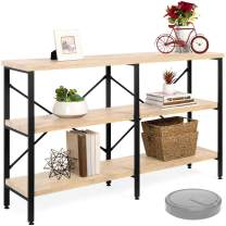 Best Choice Products 55in Rustic 3-Tier Console Sofa Table, Industrial Foyer Table for Living Room, Entry Way, Hallway w/EVA Non-Scratch Feet, Steel Frame - Light Oak
