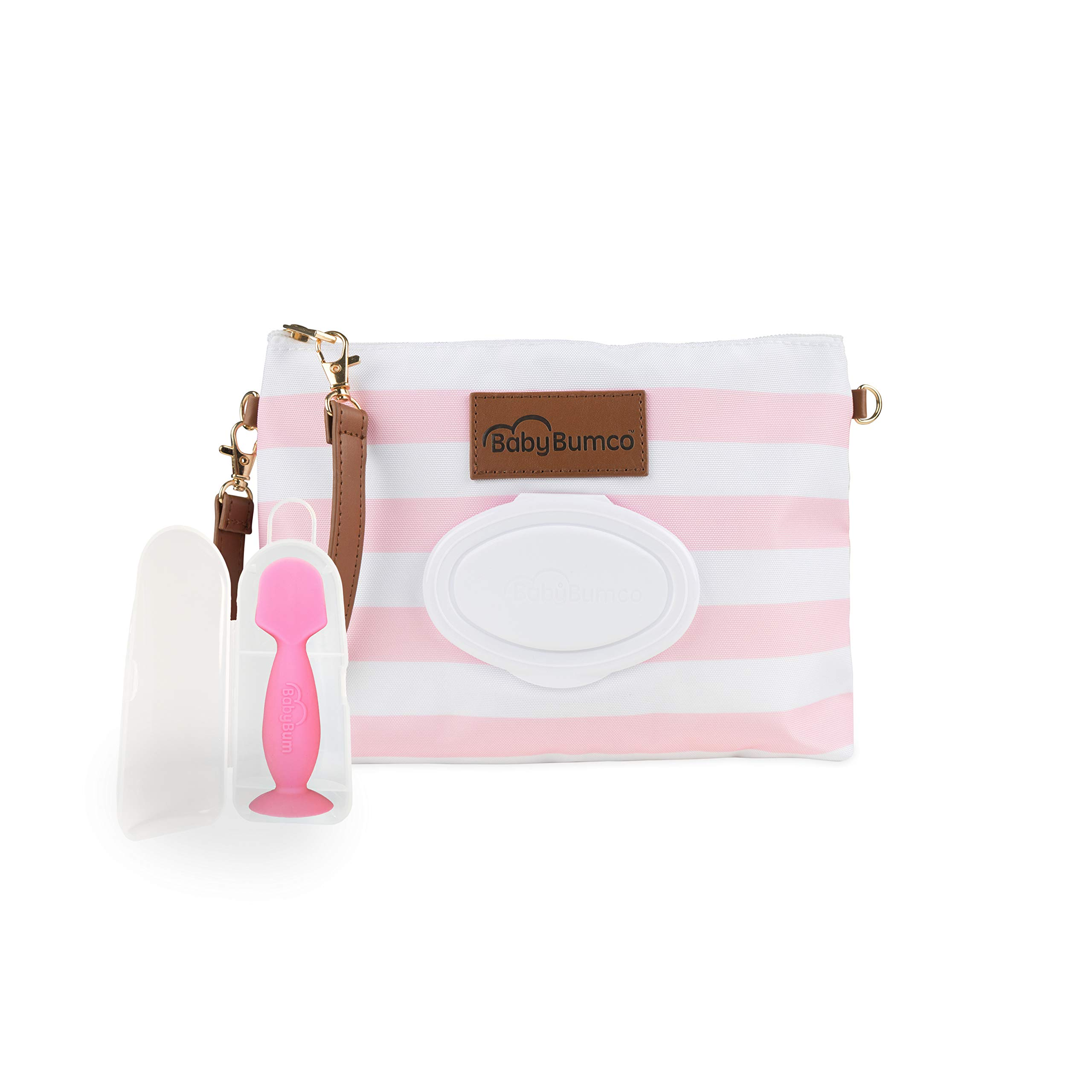 Diaper Clutch Bag and Mini Rash Cream Applicator with Travel Case, Soft Flexible Silicone - Water Resistant; Lightweight; Refillable Wipes Dispenser; Portable Changing Kit (Pretty Pink + Pink)