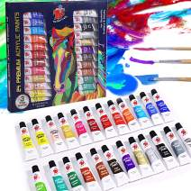 TBC The Best Crafts 24 Colors(9.5ml/Tube) Acrylic Paints for Artists(24 Basic & Metallic Colors), Ideal Acrylic Art Set for Canvas, Wood, Rock Painting, School/Classroom Art Supplies for Kids & Adults