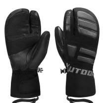 KUTOOK Ski Mittens Three Fingers Thermal 3M Thinsulate Waterproof Snowboard Gloves Winter for Cold Weather Snowmobile