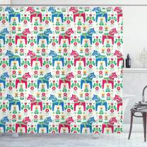 "Ambesonne Horses Shower Curtain, Classic Swedish Dalecarlian Coral Azure Blue Animals and Green Floral Arrangement, Cloth Fabric Bathroom Decor Set with Hooks, 84"" Long Extra, Pink Blue"