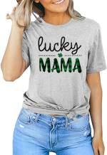St. Patrick's Day Shirt Women One Lucky Mama Shirt Funny Clover T Shirt Irish Shamrock Print Graphic Tee Tops