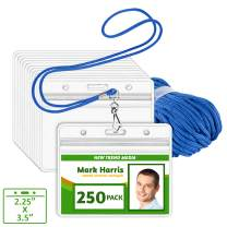 EcoEarth Lanyard with Horizontal ID Badge Holder (Blue, 2.25x3.5, 250 Pack), Resealable Clear Tag and Lanyards, Lanyard ID Card Holder Bulk, Name Badge Lanyard Set, Plastic Badge Holder with Zipper