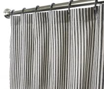 Decorative Things Extra Long Shower Curtain Unique Designer Fabric Black and White Striped Ticking 96 Inches