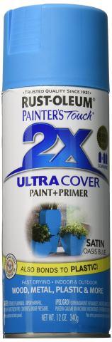 Rust-Oleum PTUCS249-991 Painters Touch Ultra Cover Satin Aerosol Paint, 12-Ounce, Oasis Blue