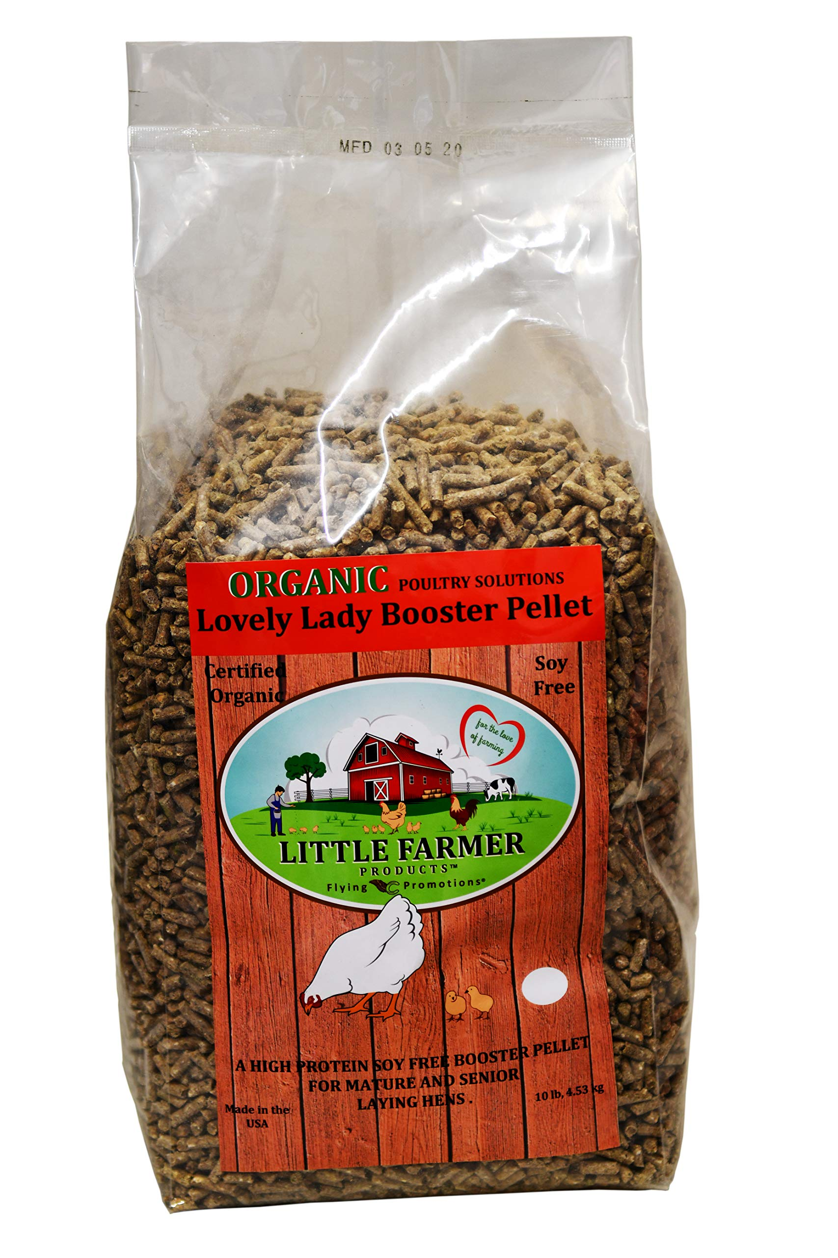 LITTLE FARMER PRODUCTS USDA Certified Organic Lovely Lady Booster Pellet, Non-GMO Soy-Free High Protein Poultry Layer Feed Supplement, Chicken Ration, 10 lbs