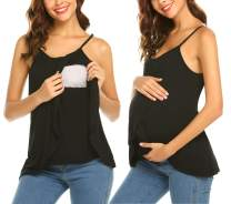 Ekouaer 3 in 1 Labor Delivery Maternity Nursing Tank Top Double Layer Sleeveless Breastfeeding Pregnancy Soft Cami Shirt