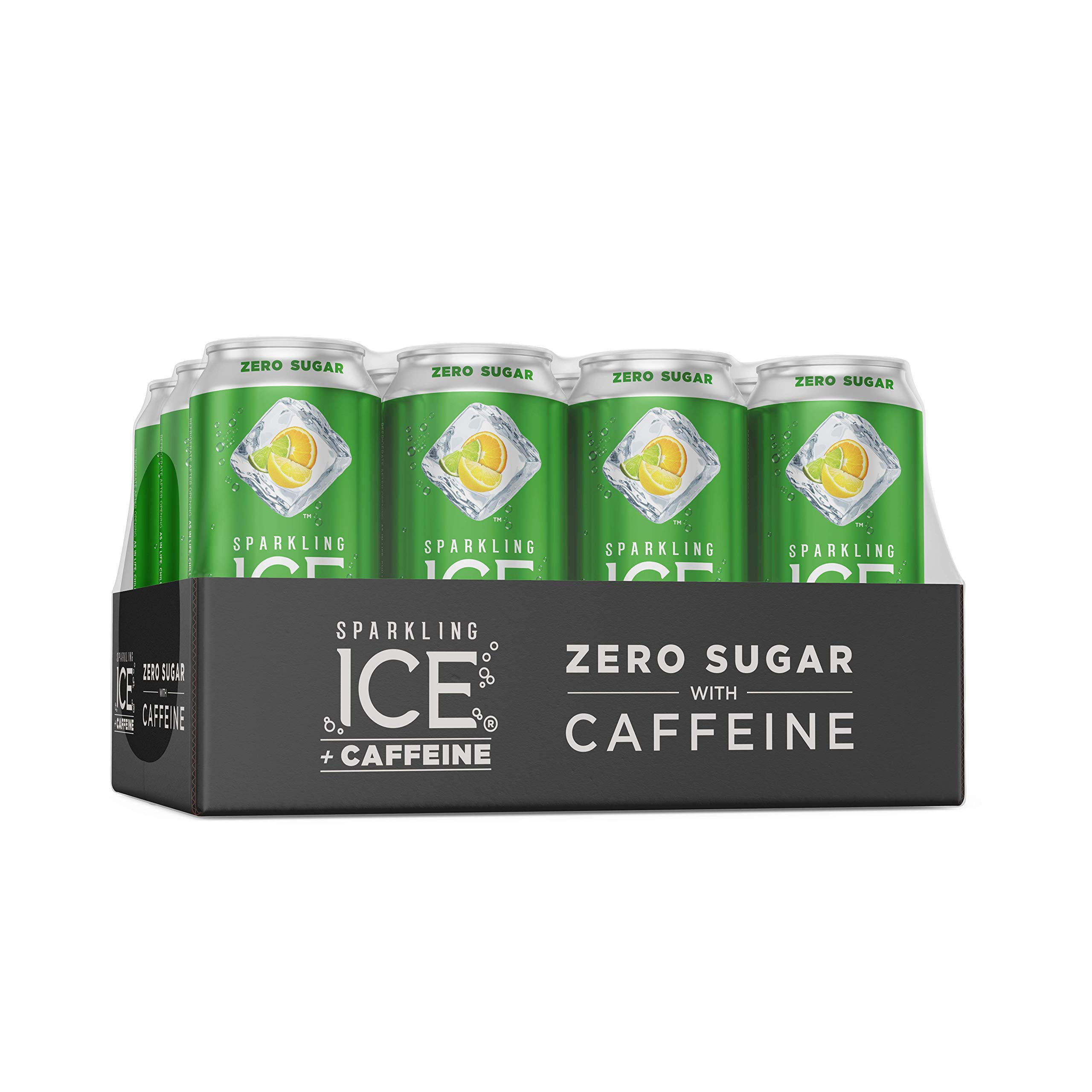 Sparkling Ice +Caffeine Triple Citrus, Naturally Flavored Sparkling Water with Antioxidants & Vitamins, Zero Sugar, 16oz Cans (Pack Of 12)