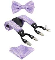 TIE G Paisley Suspender, Bow Tie, Pocket Square Set for Men's Tuxedo Suspenders : Adjustable Braces, Strong Enhanced 6 Clips