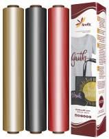 "Firefly Craft Elastic Foil Heat Transfer Vinyl Bundle   Love Metallic HTV Vinyl Bundle   Iron On Vinyl for Cricut and Silhouette   Pack of 3 Best Selling Colors - 12"" x 20"" Each"