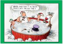 Invite Snowman - 12 Funny Season's Greetings Cards with Envelopes (4.63 x 6.75 Inch) - Christmas Hot Tub with Santa, Elves, Reindeer - Hilarious Cartoon Stationery, Boxed Note Card Set B1539