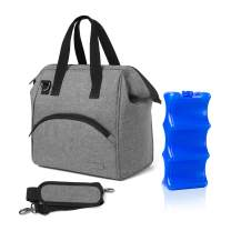 Luxja Breastmilk Cooler Bag with an Ice Pack (Fits 6 Bottles, Up to 9 Ounces), Breastmilk Cooler for Breastmilk Bottles and Small Accessories, Gray