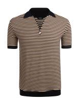 COOFANDY Men's Classic Fit Polo Shirt Short Sleeve Striped Fashion Golf T-Shirt
