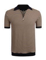 COOFANDY Men's Classic Fit Polo Shirt Short Sleeve Striped Fashion Golf T-Shirt