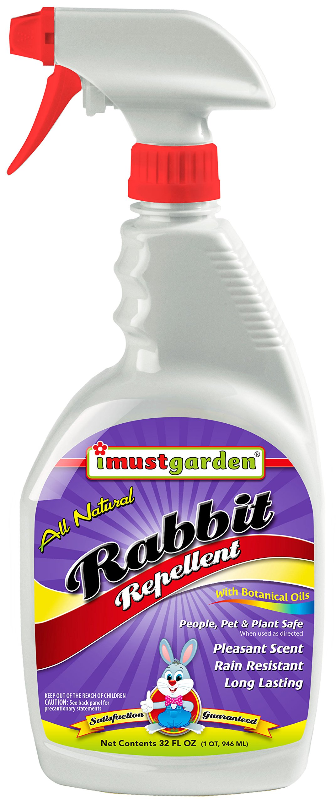 I Must Garden Rabbit Repellent: Mint Scent Rabbit Spray for Plants & Lawns – 32 oz. Ready to Use