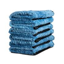 Adam's Pluffle Towel - A Microfiber Fabric Blend from Our Single Soft Towel & Waffle Weave Pattern from Our Waterless Wash Cloth - 16x16 Auto Detailing Rag W/ 490 GSM for Scratch Free (6 Pack)