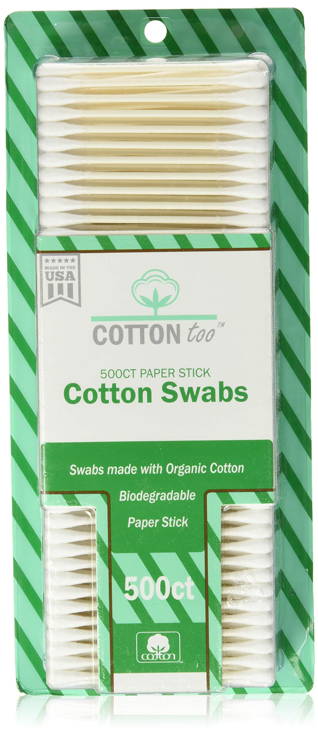 Cotton Too 500 Count Organic Cotton Swabs, 2 Pack
